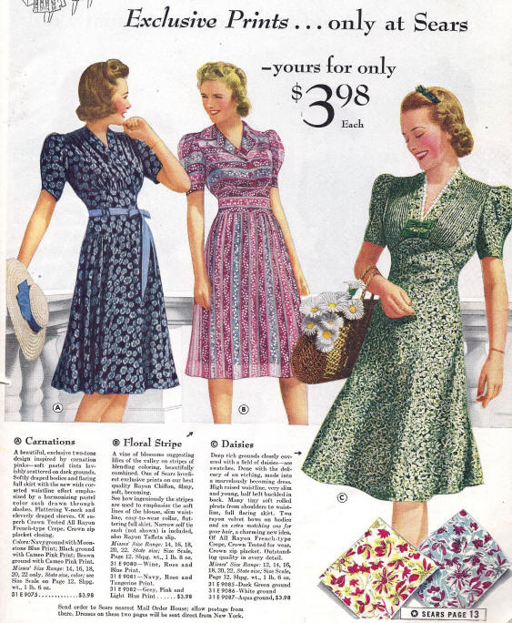 1940s Utility Clothes: Image courtesy of Elizabeth Ewing, History of 20th Century Fashion, 1992. Image center and right courtesy of Valerie Mendes and Amy
